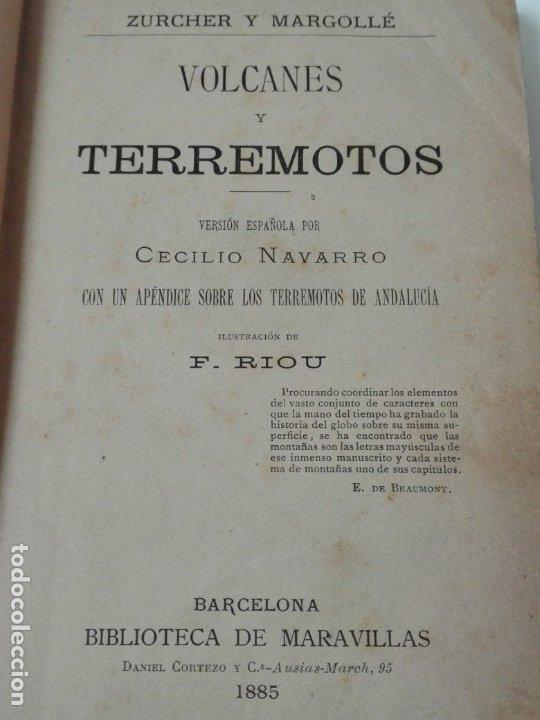 Libros antiguos: VOLCANES Y TERREMOTOS CECILIO NAVARRO 1885 ILUSTRADO - Foto 3 - 174686053