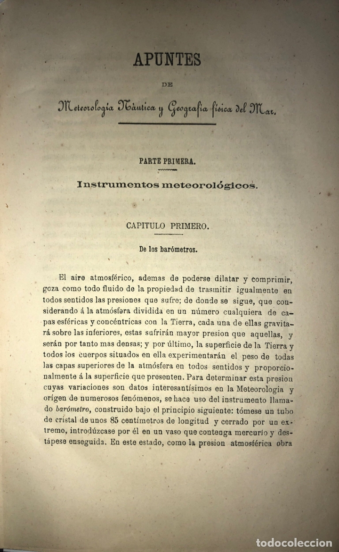 Libros antiguos: APUNTES METEOROLOGIA NAUTICA Y GEOGRAFIA FISICA DEL MAR, TENIENTE CHACON Y PERY. 1877 LEER. - Foto 2 - 175023802