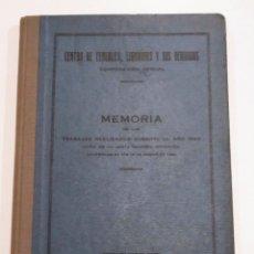 Libros antiguos: CENTRO DE CEREALES, LEGUMBRES Y SUS DERIVADOS - MEMORIA DE TRABAJOS REALIZADOS DURANTE EL AÑO 1923. Lote 175450777