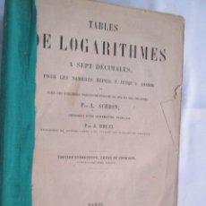 Libros antiguos: TABLES DE LOGARITHMES A SEPT DÉCIMALES - L. SCHRÖN.. - PARIS 1891. . Lote 176006892