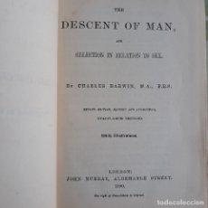 Libros antiguos: THE DESCENT OF MAN. 1890. POR CHARLES DARWIN. EN INGLÉS.. Lote 176792929