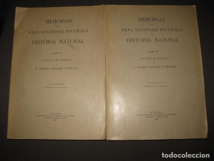 MEMORIAS DE LA REAL SOCIEDAD ESPAÑOLA DE HISTORIA NATURAL. TOMO XV. (F. 1-2) MADRID 1929 (Libros Antiguos, Raros y Curiosos - Ciencias, Manuales y Oficios - Biología y Botánica)