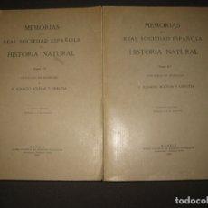 Libros antiguos: MEMORIAS DE LA REAL SOCIEDAD ESPAÑOLA DE HISTORIA NATURAL. TOMO XV. (F. 1-2) MADRID 1929. Lote 176820258