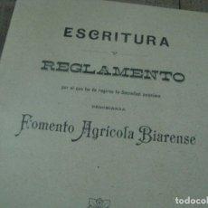 Libros antiguos: ESCRITURA Y REGLAMENTO FOMENTO AGRÍCOLA BIARENSE. AÑO 1908 VILLENA (ALICANTE). Lote 179004620