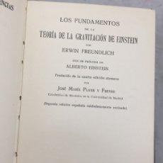 Libros antiguos: LOS FUNDAMENTOS DE LA TEORIA DE LA GRAVITACION DE EINSTEIN. CON UN PRÓLOGO DE ALBERTO EINSTEIN 1922. Lote 179006048