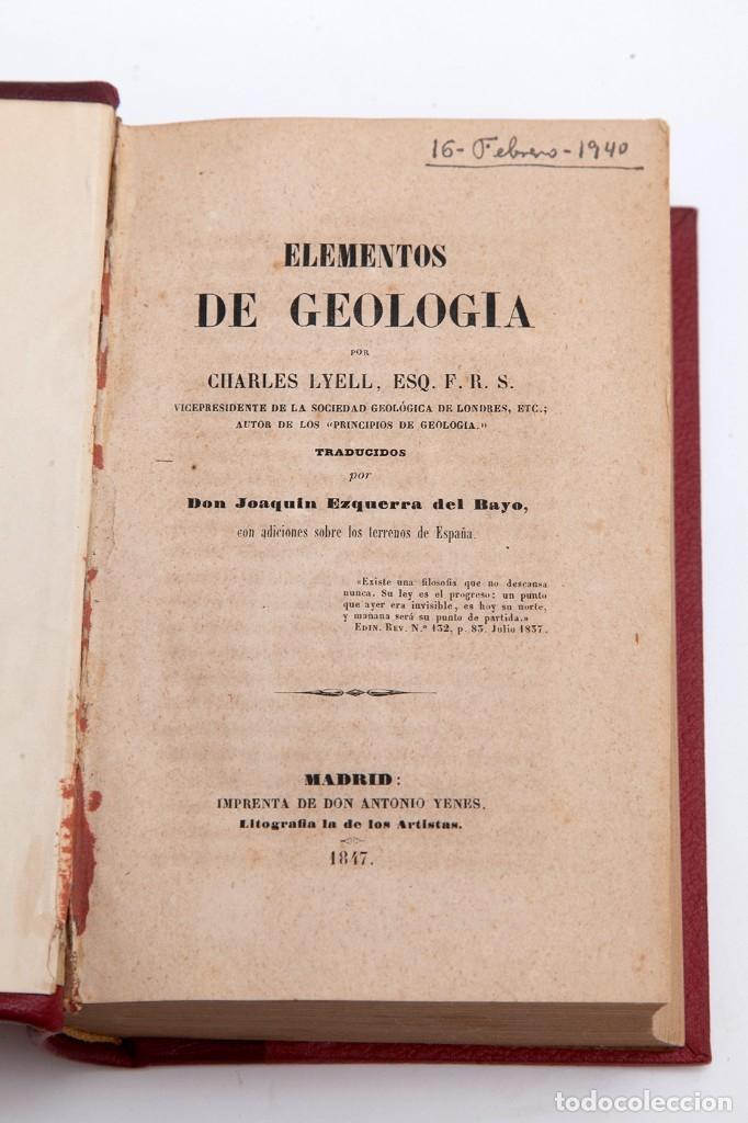 CHARLES LYELL : ELEMENTOS DE GEOLOGIA,1847, 42+1 LAMINAS , COMPLETO - 1847 (Libros Antiguos, Raros y Curiosos - Ciencias, Manuales y Oficios - Paleontología y Geología)
