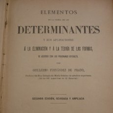 Libros antiguos: ELEMENTOS DETERMINANTES Y SUS APLICACIONES - PORTAL DEL COL·LECCIONISTA *****. Lote 180867581
