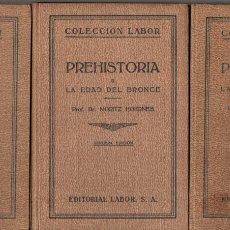 Libros antiguos: MORITZ HOERNES : PREHISTORIA - 3 TOMOS (LABOR, 1928 A 1934). Lote 181162955
