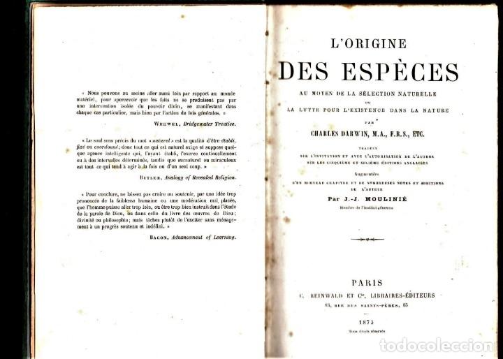 Libros antiguos: LIBRO,EL ORIGEN DE LAS ESPECIES,SIGLO XIX, AÑO 1873,DE CHARLES DARWIN,EN FRANCES,MUY RARO EN ESPAÑA - Foto 2 - 182024558