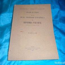 Libros antiguos: BOLETIN DE LA SOCIEDAD ESPAÑOLA DE HISTORIA NATURAL. Nº 9. NOVIEMBRE 1928. Lote 182367597