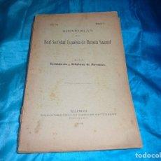 Libros antiguos: MEMORIAS REAL SOCIEDAD ESPAÑOLA DE HISTORIA NATURAL. I. BOLIVAR. DERMAPTEROS Y ORTOPTEROS. 1914. Lote 182368415