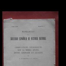Libros antiguos: OBSERVATIONS GÉOLOGIQUES SUR LA SIERRA ARANA ENTRE GRENADE ET GUADIX. M. BLUMENTHAL ET P. FALLOT. Lote 182414830