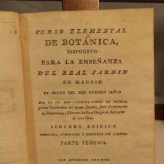 Libros antiguos: CASIMIRO GÓMEZ DE ORTEGA, CURSO DE BOTÁNICA ELEMENTAL. Lote 182710587