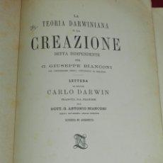 Libros antiguos: (MF) G GIUSEPPE BIANCONI - LA TEORIA DARWINIANA E LA CREAZIONE, CARLOS DARWIN 1875. Lote 182967585