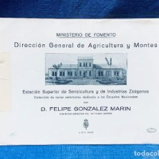 Libros antiguos: PUBLICACION FOMENTO AGRICULTURA MONTES SERICICULTURA GUSANOS SEDA GONZALEZ MARIN 1925. Lote 183680707