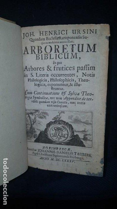 Libros antiguos: BOTÁNICA EN LA BIBLIA - Arboretum Biblicum, In quo Arbores & fructices - Foto 2 - 183862835