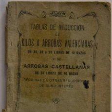 Libros antiguos: TABLAS DE REDUCCIÓN DE KILOS A ARROBAS VALENCIANAS Y DE ARROBAS CASTELLANAS - VALENCIA AÑO 1923. Lote 184288967