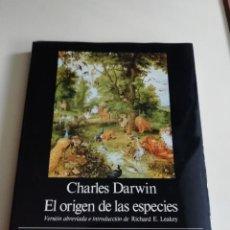 Libros antiguos: EL ORIGEN DE LAS ESPECIES DARWIN. Lote 186307302