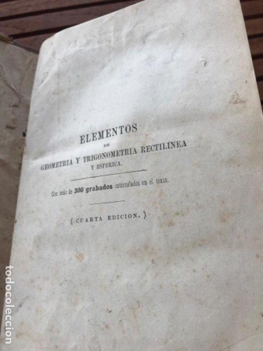 Libros antiguos: Elementos de Matemáticas por Vicente Rubio y Diaz. Tomo 2 Geometría y trigonometría 1884 - Foto 3 - 186396750