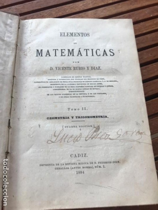 Libros antiguos: Elementos de Matemáticas por Vicente Rubio y Diaz. Tomo 2 Geometría y trigonometría 1884 - Foto 4 - 186396750