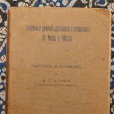 Libros antiguos: PRINCIPIOS DE GEOMETRÍA M. Gª MIRANDA 1925. Lote 187466295