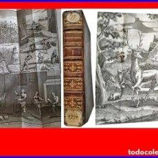 Libros antiguos: AÑO 1770: LIBRO DE AGRICULTURA CON DESPLEGABLES DE HERRAMIENTAS, CABALLOS, CIERVOS, COLMENAS,FINCAS.. Lote 189083336