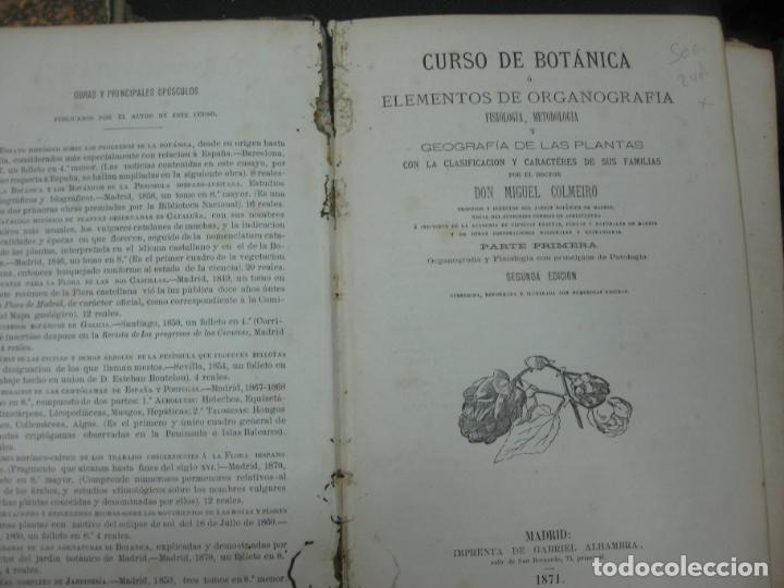 Libros antiguos: CURSO DE BOTANICA O ELEMENTOS DE ORGANOGRAFIA .... MIGUEL COLMEIRO. IMP. GABRIEL ALHAMBRA 1871. 2 V. - Foto 8 - 168779992