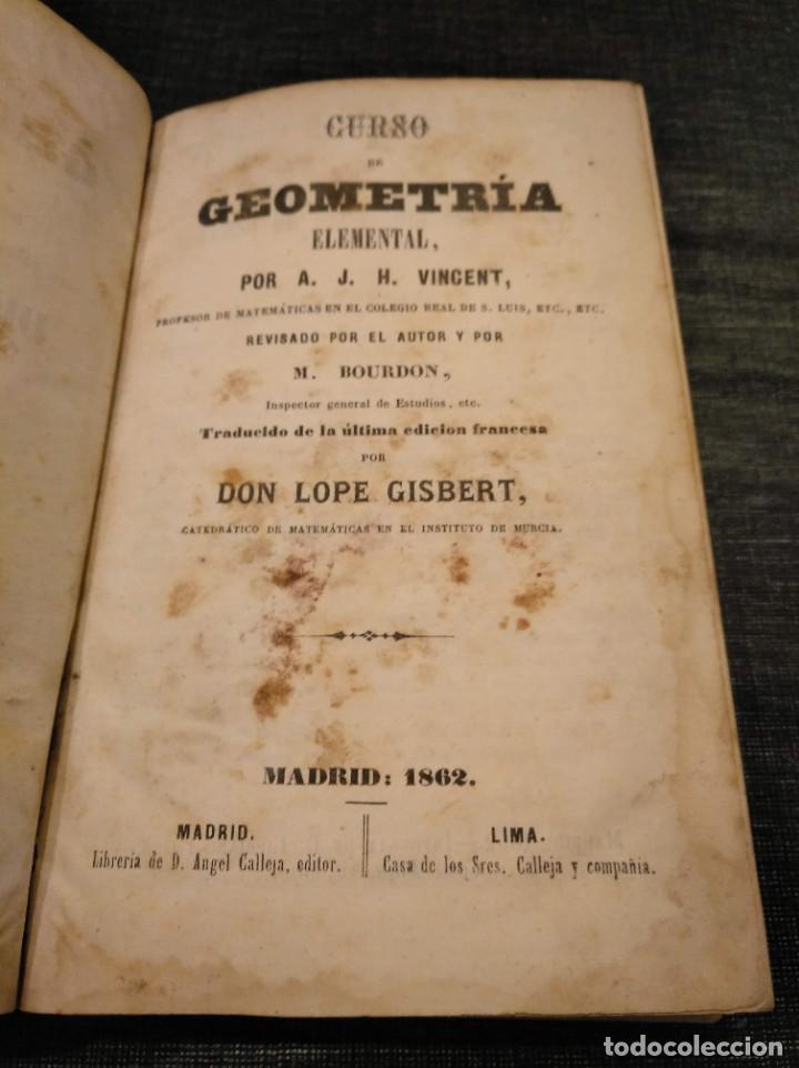 Libros antiguos: CURSO DE GEOMETRÍA ELEMENTAL (1862) - J. H. VINCENT - CON 22 LÁMINAS DESPLEGABLES - Foto 3 - 190166302