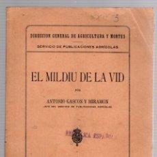 Libros antiguos: EL MILDIU DE LA VIDD. ANTONIO GASCON Y MIRAMON. DIRECCION GENERAL DE AGRICULTURA Y MONTES. 1923. Lote 190804108