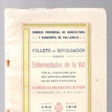 Libros antiguos: FOLLETO DE DIVULGACION SOBRE ENFERMEDADES DE LA VID. CARLOS SOLANO MARTINEZ DE PISON VALLADOLID 1918. Lote 190815683