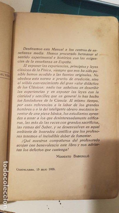 Libros antiguos: MODESTO BARGALLÓ - MANUAL DE FÍSICA (Reus, 1925) (Profesor Escuela Normal Guadalajara) - Foto 3 - 191104617