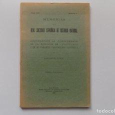 Libros antiguos: LIBRERIA GHOTICA.M. COMAS.MEMORIAS DE REAL SOCIEDAD ESPAÑOLA DE HISTORIA NATURAL.1928. MUY ILUSTRADO. Lote 192624378