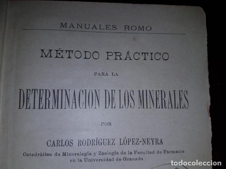 Libros antiguos: Determinación de los minerales - 1919 - Foto 2 - 193192220
