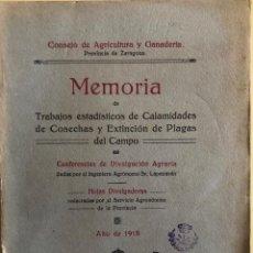 Libros antiguos: ZARAGOZA- MEMORIA CALAMIDADES COSECHAS Y PLAGAS DEL CAMPO- JOSE CRUZ LAPAZARAN- 1.918. Lote 195644443
