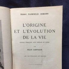 Libros antiguos: ORIGEN EVOLUCION VIDA SARTIAUX 1921 ORIGINE EVOLUTION VIE MASSON 126 ILL 23X16C. Lote 196272151