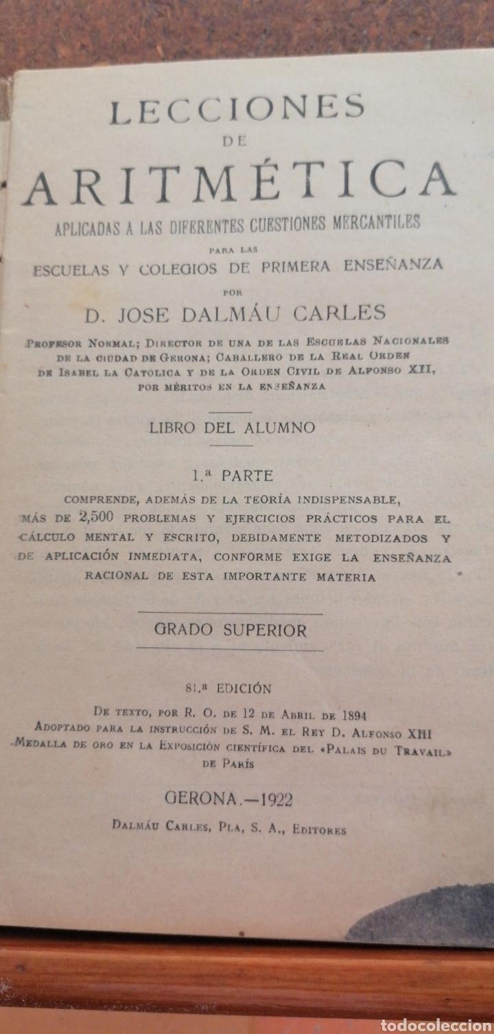 Libros antiguos: LECCIONES DE ARITMÉTICA GRADO SUPERIOR AÑO 1922 - Foto 2 - 197639502