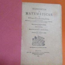 Libros antiguos: JOAQUIN MARIA FERNANDEZ Y CARDIN MATEMATICAS, GEOMETRIA Y TRIGOMETRIA RECTILINIA MADRID AÑO 1891. Lote 198079943