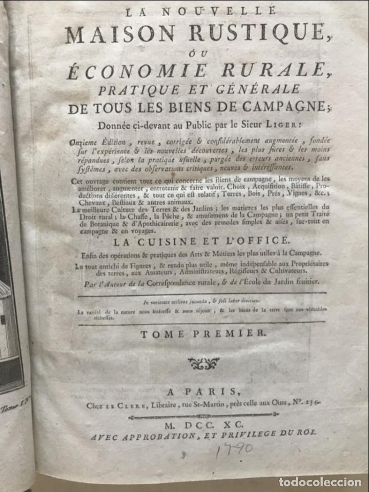 Libros antiguos: La nouvelle Maison rustique..., 2 tomos (IyII), 1790. L. Liger. Posee 41grabados y figuras - Foto 5 - 198399371