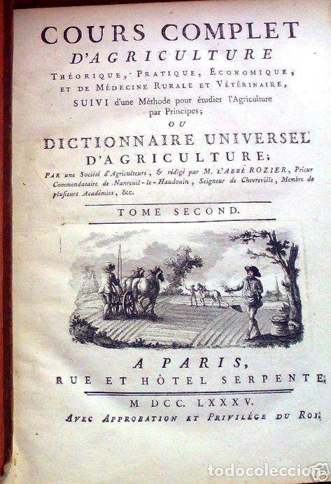 COURS COMPLET D'AGRICULTURE...TOMO II, 1785. F. ROZIER. POSEE 27 GRABADOS (Libros Antiguos, Raros y Curiosos - Ciencias, Manuales y Oficios - Biología y Botánica)
