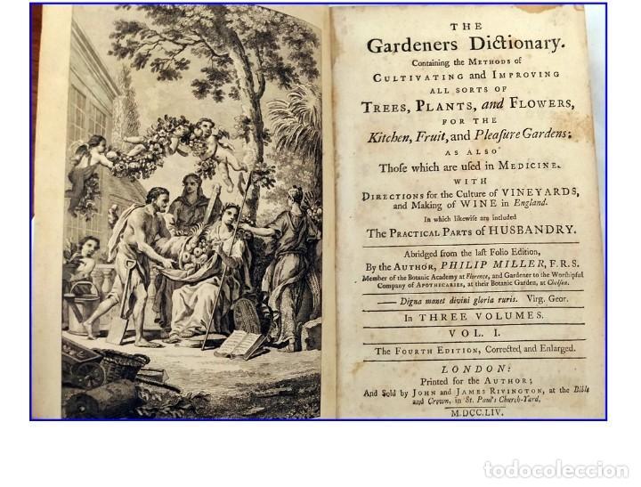 AÑO 1754: DICCIONARIO DE LOS JARDINEROS: ÁRBOLES, FLORES, PLANTAS...LONDRES. (Libros Antiguos, Raros y Curiosos - Ciencias, Manuales y Oficios - Bilogía y Botánica)