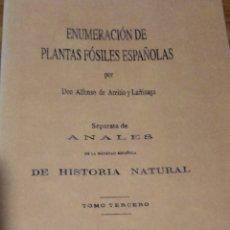 Libros antiguos: ENUMERACIÓN DE LAS PLANTAS FÓSILES ESPAÑOLAS. PALEONTOLOGIST.. Lote 201526705