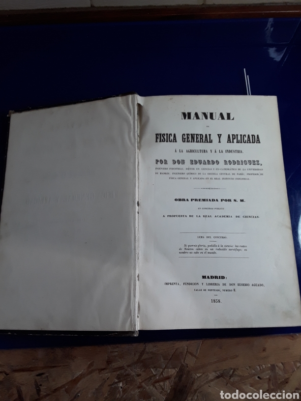 Libros antiguos: Manual de física general y aplicada 1858 - Foto 2 - 201957508