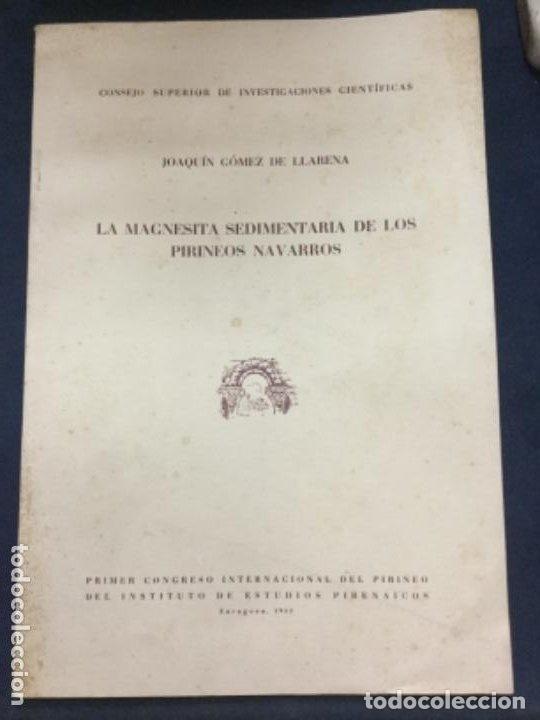 LA MAGNESITA SEDIMENTARIA DE LOS PIRINEOS NAVARROS - JOAQUIN GOMEZ DE LLARENA - 1952 19P.+20FIGURAS (Libros Antiguos, Raros y Curiosos - Ciencias, Manuales y Oficios - Paleontología y Geología)