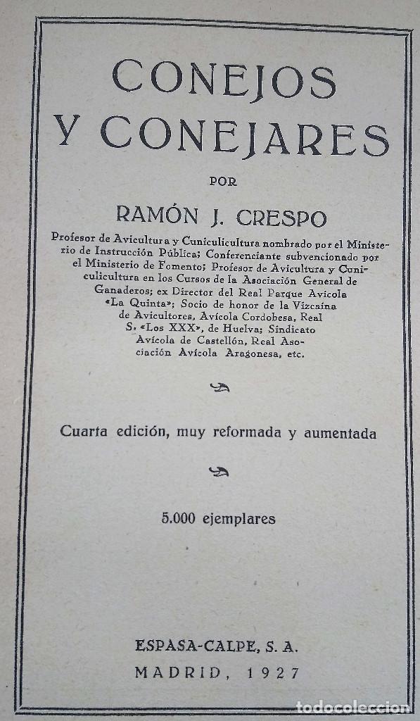 Libros antiguos: Conejos y Conejares. Ramón J. Crespo. Espasa Calpe 1927 - Foto 2 - 208734793