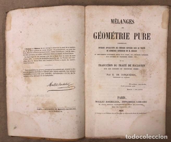 Libros antiguos: MÉLANGES DE GÉOMÉTRIE PURE. TRADUCTION DU TRAITÉ DE MACLAURIN PAR E. DE JONQUIÉRES. 1856 - Foto 2 - 209072340