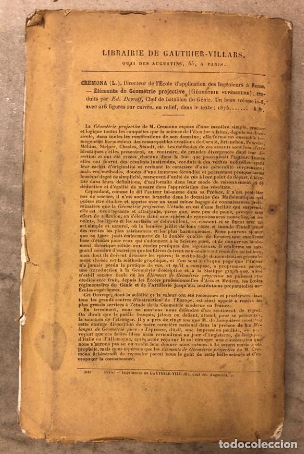 Libros antiguos: MÉLANGES DE GÉOMÉTRIE PURE. TRADUCTION DU TRAITÉ DE MACLAURIN PAR E. DE JONQUIÉRES. 1856 - Foto 9 - 209072340
