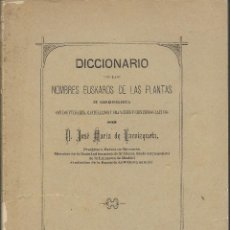 Libros antiguos: DICCIONARIO DE LOS NOMBRES EUSKAROS DE LAS PLANTAS. JOSE MARIA DE LACOIZQUETA 1888. PAÍS VASCO.. Lote 209121262