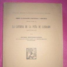 Libros antiguos: LA CAVERNA DE LA PEÑA DE CANDAMO ASTURIAS E, HERNANDEZ PACHECO 1919. Lote 209145715
