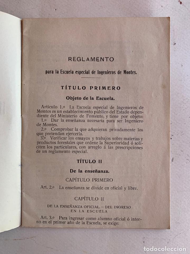 Libros antiguos: REGLAMENTO PARA LA ESCUELA ESPECIAL DE INGENIEROS DE MONTES . MADRID 1910 . - Foto 3 - 210519975