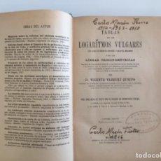 Libros antiguos: TABLAS DE LOS LOGARITMOS VULGARES. D. VICENTE VÁZQUEZ QUEIPO. Lote 211398832